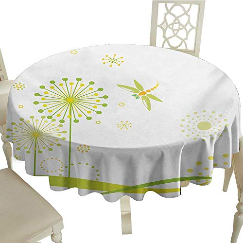 (Cranekey 100% Polyester Round Tablecloth 54 Inch Dragonfly,Spring Theme with Dandelion Flowers Happiness Hope Artful Summer Design,Lime and Apple Green Great for,Holiday & More)