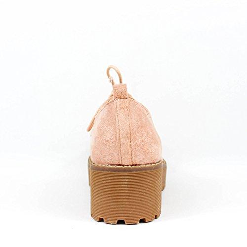 Zapato alto. Cierre mediante cordones. Altura de la suela 5.0 cm. Rosa