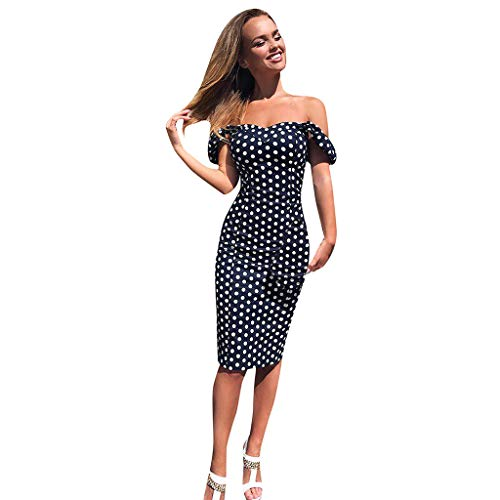 Mayunn Women's Sexy Off Shoulder Dress Dot Printed Bodycon Evening Party Short Mini Dress
