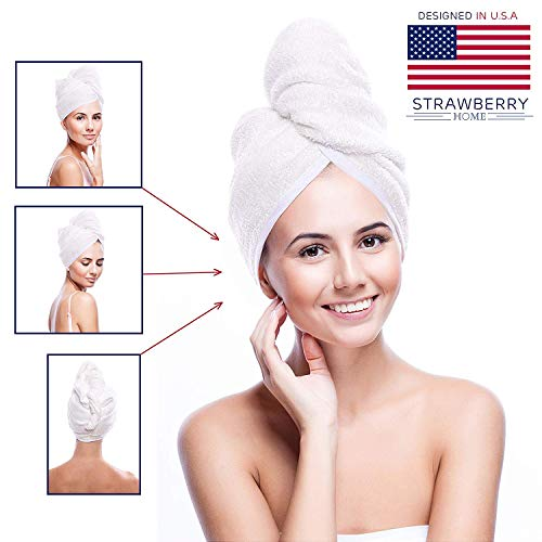 - Strawberry Home Hair Towel Turban Wrap Microfiber Fast Drying Frizz-Free Tapered Design Bath Shower Head Towel with Buttons Comfortable and Lightweight Compact