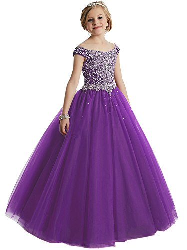 Girls Off the shoulder Glitz Sequins Hollow Corset Beauty Pageant Dress for Teens08 US Purple by Yc