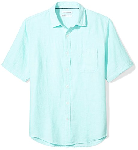 Amazon Essentials Men's Regular-Fit Short-Sleeve Linen Shirt, Aqua, (Aqua Blue Short Sleeve Shirt)