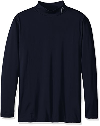 HEAD Men's Long Sleeve Training Mock Neck Top, Navy Heath...