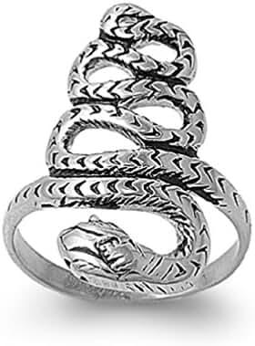 Snake Biker Ring Stainless Steel