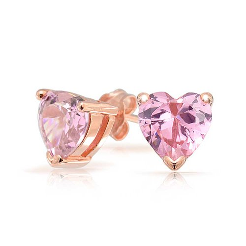 1Ct Pink Cubic Zirconia Heart AAA CZ Solitaire Stud Earrings For Women For Girlfriend Rose Gold Plated Sterling Silver