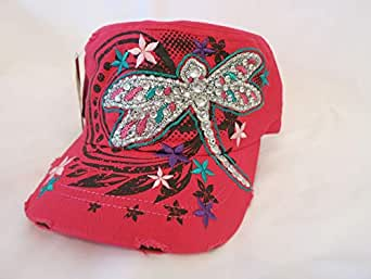 Fuchsia Cap for Ladies with Dragonfly
