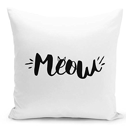 Meow Pillowcase Cat pillow cover accent pillow, sofa cushion animal throw pillow cat lover gift cat decorative pillowcase guestroom pillow home decor