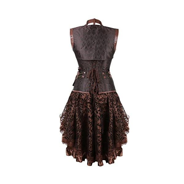 frawirshau Women's Steampunk Costume Corset Dress Halloween Costumes Steam Punk Gothic Corset Skirt Set 5