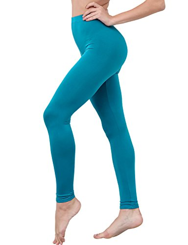 HASLRA Women's Light Weigh Premium Viscose Rayon Stretch Full Length Leggings (Teal)
