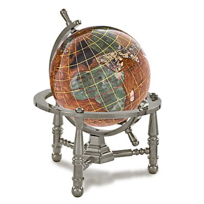 Amber Gemstone Globe (Kalifano Copper Amber 3-in. Gemstone Globe with Nautical Stand - Antique Silver)