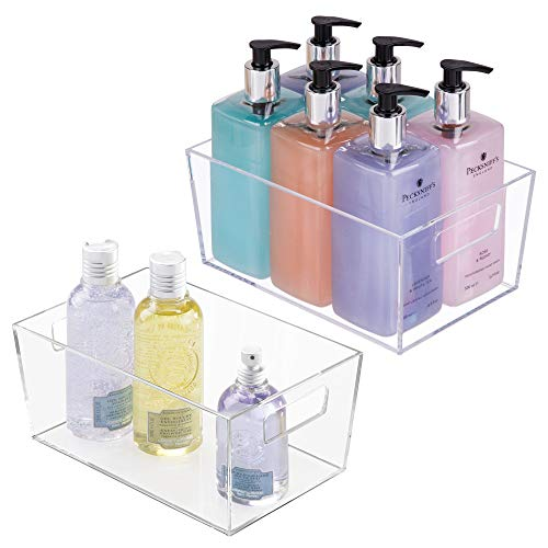 mDesign Modern Bathroom Plastic Organizer Storage Bin Totes with Handles for Organizing Small Hand Soaps, Body Wash, Shampoos, Makeup, Hand Towels, Hair Accessories, Body Spray - 2 Pack - Clear