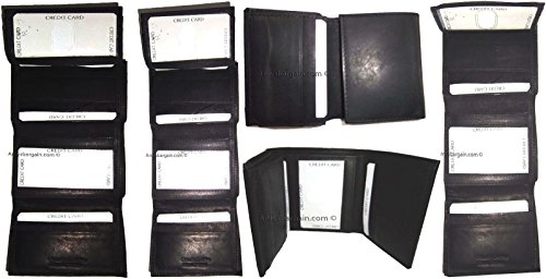 Black Billfold Trifold 2 5 New of Lot Card Men's Wallet Wallet 8 Genuine Leather ap6gqUI