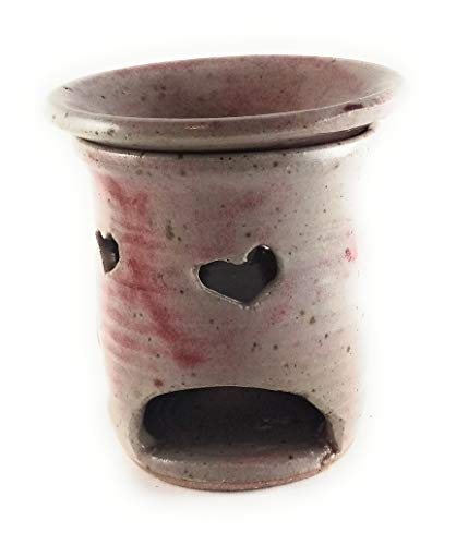 Aunt Chris' Pottery - Hand Made Clay - Heart Tart Burner - Red & Grey Glazed - Fragrance Oil or Fragrance Wax Warmer - Primitive Design - Accented With Heart Cut Outs - Lets The Light Shine Through!
