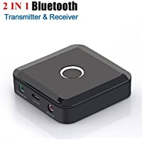 Bluetooth Transmitter and Receiver, Wireless Bluetooth 3.5mm Audio Adapter for TV Home Music Streaming System and Car, Pair 2 at Once, Low Latency