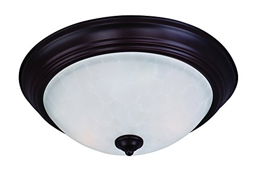 Maxim 5842ICOI Essentials 3-Light Flush Mount, Oil Rubbed Bronze Finish, Ice Glass, MB Incandescent Incandescent Bulb , 12W Max., Dry Safety Rating, 3000K Color Temp, Shade Material, 780 Rated Lumens by Maxim Lighting