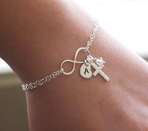 Personalized Cross Bracelet - Sterling Silver - Infinity Bracelet - Initial Bracelet - Heart Initial - Birthstone - Dainty Cross Bracelet - Simple Cross Bracelet - Delicate - Confirmation - Unique