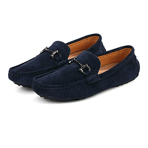 Sole Leather Rubber Men's Vamp Hollow Cricket Navy Loafers Moccasins Genuine Shoes Driving Suede Penny ffpagv