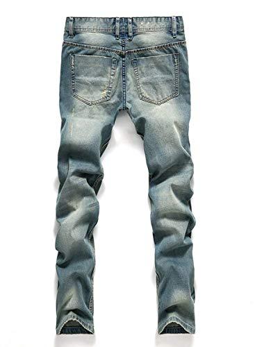 Classiche Strappati Media Jeans Slim Casual A Ragazzi Vita Blu Di Da Dritti Uomo Eleganti Fit Unita Pantaloni Tinta nSv8qx6gwS