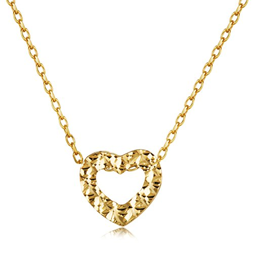 Carleen Solid 14K Yellow Gold Heart Dainty Pendant Necklaces for Women, Chain Length ()