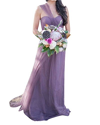 LaoZan Vestidos de Fiesta para Bodas Largo - Cambiable - Halter Tirantes o Sin tirantes - Elegante y Encantador para Mujeres Púrpura Claro