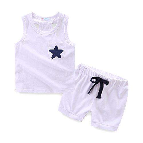 Mud Kingdom Little Boys Summer Clothes Sets Cute Tank Tops Shorts Outfits Star 3T White by Mud Kingdom