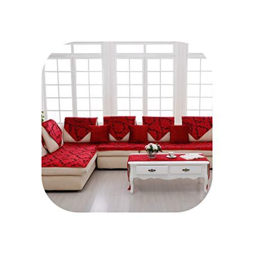 European Classical Non-Slip All-Inclusive Sofa Cushion Four Seasons Universal Sofa Cover Towelize Chaise Lounge Cover,Red,80120Cm - Universal Chaise Cushion Canvas
