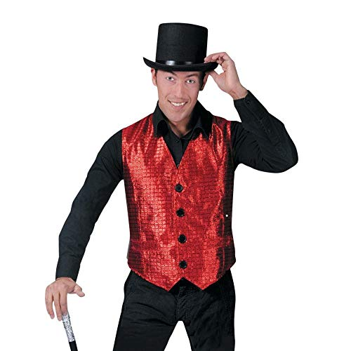 Funny Fashion Mens Sparkly Red Flashy Show Biz Musical Halloween Costume Vest L