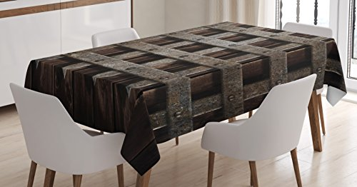 Ambesonne Medieval Decor Tablecloth by, Medieval Wooden Castle Wall Metal Gate Greek Mid-Century Design Art, Dining Room Kitchen Rectangular Table Cover, 60 X 84 Inches
