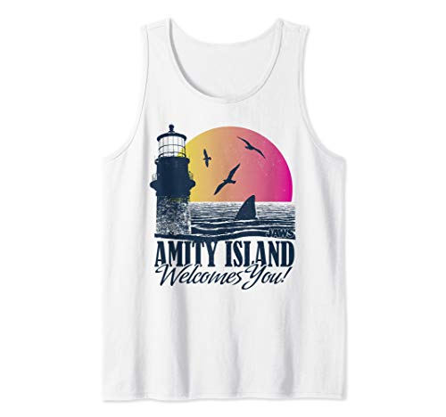 Jaws Amity Island Welcomes You Lighthouse Sunset Portrait Tank Top
