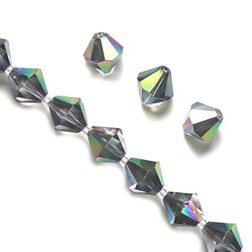 100pcspcs 6mm Adabele Austrian Bicone Crystal Beads Metallic Scarabaeus Green Compatible with Swarovski Crystals Preciosa 5301/5328 SSB631 (Metallic Wood Bead)