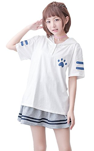 GK-O Japanese Mori Girl Kawaii Cute Hat Sweater Shirt Cat Paw Printing Hoodie Tops (Short Sleeve White)