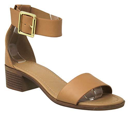 MVE Shoes Women's Ankle Buckle Strap Low Block Heeled Sandals, Hudson Camel PU 8