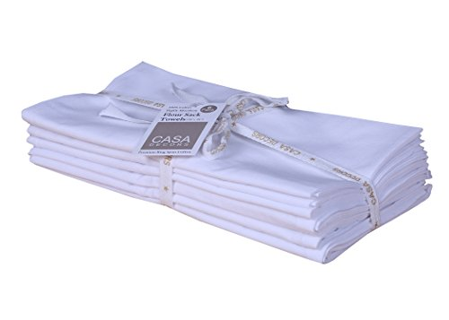 Flour Sack Towels, Set of 6 ( 28 x 28 Inches ) , Multi-use White Kitchen Towels, 100 % Cotton , Highly Absorbent , Tea towels for embroidery, Flour sack dish towels By CASA DECORS by CASA DECORS