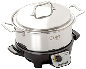 360 Cookware Gourmet Slow Cooker and Stainless Steel Stock Pot with Cover, 4 Quart
