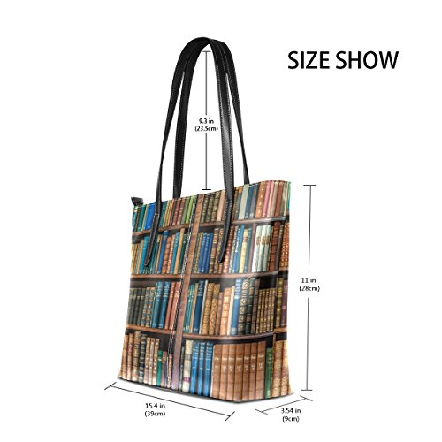 Top Large Satchel School Shoulder Handbags Women's Purse Bags Library Handle Bookcase Bennigiry Tote Bookshelf qnxt8wvXv0