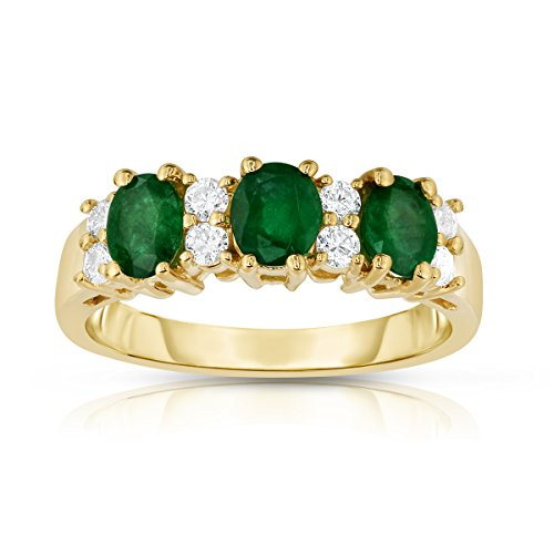 Noray Designs 14K Yellow Gold Oval Emerald & Diamond (1/4 Ct, G-H Color, SI2-I1 Clarity) Ring. by Noray Designs