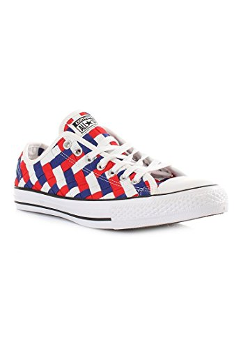 Converse Mens Chuck Taylor All Star Woven Low Top Sneaker White/Clematis Blue/Red 10 M iVIFudlQ