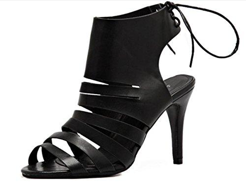 Pelle Donna YCMDM'S Hollow raffinata con i tacchi alti sandali casuali pattini di svago Primavera Estate Autunno , black , 41