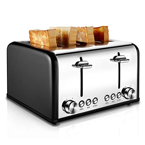 Toaster 4 Slice, CUSIBOX Stainless Steel Toaster with Bagel, Defrost, Cancel Function, Extra Wide Slots, 6 Bread Shade Settings, 1650W, Black (Four Slot)