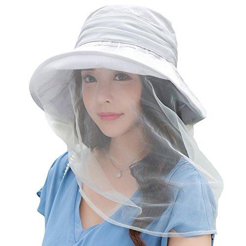 SIGGI Womens UPF50+ Bug cubeta Sombrero w/máscara de malla de bolsillo oculto chincord plegable, 89321_Gray