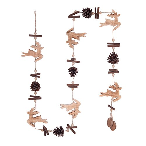 GALLERIE II Christmas Garland – Hanging Xmas Tree Holiday Decoration, Decorative Ornament in Winter Holliday Design, Leaping Reindeer, 57 inches -