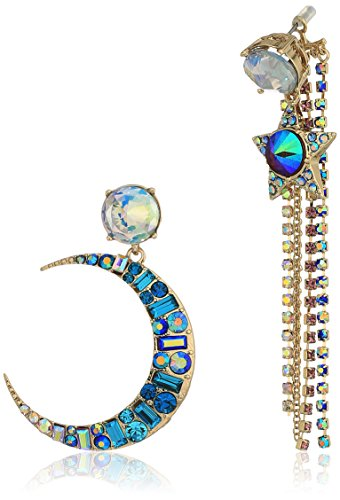 Johnsons Jewelry - Betsey Johnson Star and Moon Mismatch Drop Earrings