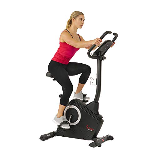 Sunny Health & Fitness Upright Exercise Bike with Electromagnetic Resistance, Programmable Monitor and Pulse Rate…