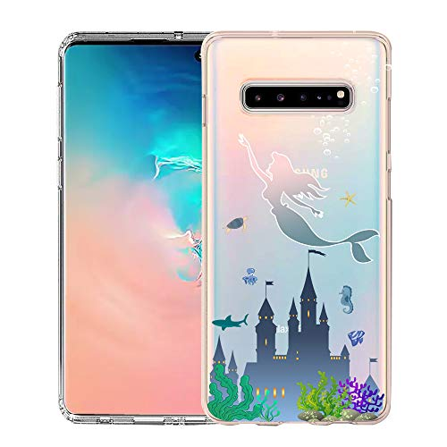 Unov Galaxy S10 5G Case Clear with Design Soft TPU Shock Absorption Embossed Pattern Slim Protective Back Cover for Galaxy S10 5G Version 6.7inch (Mermaid Castle) (The Real Version Of The Little Mermaid)