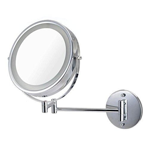 Ovente Wall Mount Makeup Mirror, Battery Operated LED Lighted, 1x/10x Magnification, 8.5 inch, Polished Chrome (MFW85CH1x10x) For Sale