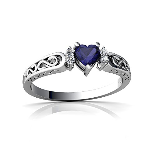 14kt White Gold Sapphire and Diamond 4mm Heart filligree Scroll Ring - Size 8