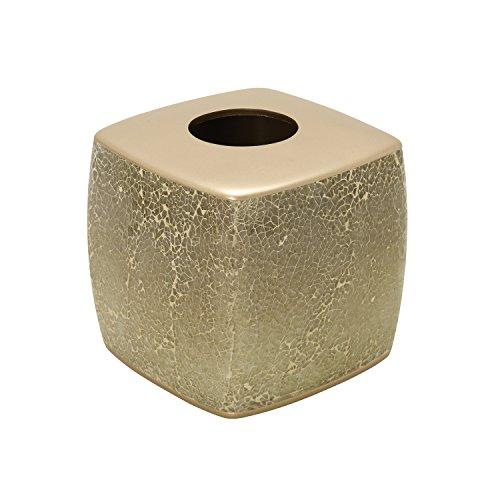 Zenna Home, India Ink Huntington Tissue Box Cover, Gold Cracked (Gold Tissue Holder)