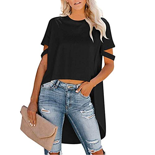 WUAI-Women T-Shirt,Summer Stylish High-Low Hem Tunic Tops Round Neck Irregular Hem Casual Blouse Shirt Dress(Black,XX-Large)]()