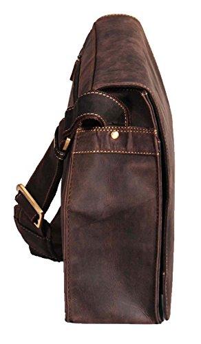 Herren Messenger BRAUN Ledertasche VINTAGE A4 Laptop Büro Uni Beiläufig Record Tasche - A48