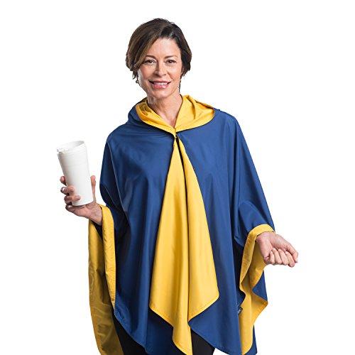 SpiritCaper Rainproof Rain Poncho for Women - Ultrasoft Reversible Rain Cape for Tailgating & Sidelines (Blue/Gold)
